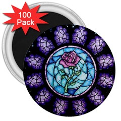 Cathedral Rosette Stained Glass Beauty And The Beast 3  Magnets (100 Pack) by Onesevenart