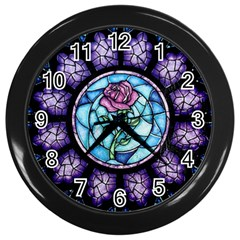 Cathedral Rosette Stained Glass Beauty And The Beast Wall Clocks (black) by Onesevenart