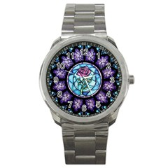 Cathedral Rosette Stained Glass Beauty And The Beast Sport Metal Watch by Onesevenart
