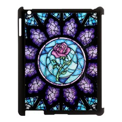 Cathedral Rosette Stained Glass Beauty And The Beast Apple iPad 3/4 Case (Black) by Onesevenart