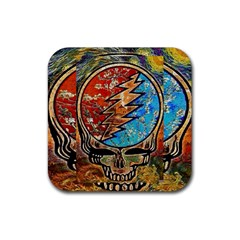 Grateful Dead Rock Band Rubber Coaster (square)  by Onesevenart