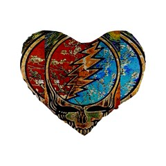 Grateful Dead Rock Band Standard 16  Premium Flano Heart Shape Cushions by Onesevenart