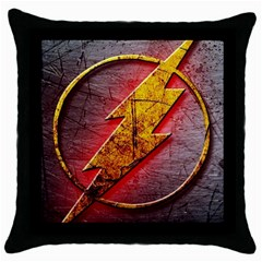Grunge Flash Logo Throw Pillow Case (black) by Onesevenart
