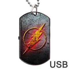 Grunge Flash Logo Dog Tag USB Flash (Two Sides)  by Onesevenart