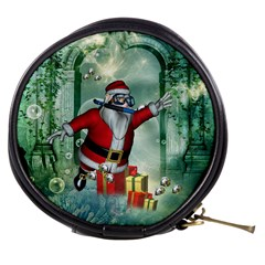 Funny Santa Claus In The Underwater World Mini Makeup Bags by FantasyWorld7