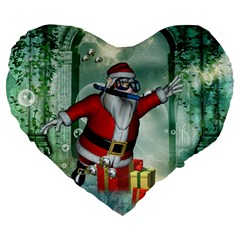 Funny Santa Claus In The Underwater World Large 19  Premium Heart Shape Cushions by FantasyWorld7