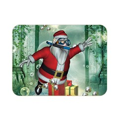 Funny Santa Claus In The Underwater World Double Sided Flano Blanket (mini)  by FantasyWorld7