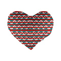 Geometric Waves Standard 16  Premium Heart Shape Cushions by dflcprints