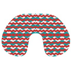 Geometric Waves Travel Neck Pillows by dflcprints