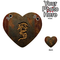 Awesome Dragon, Tribal Design Playing Cards 54 (heart)  by FantasyWorld7