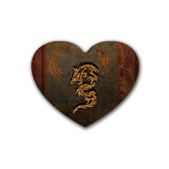 Awesome Dragon, Tribal Design Rubber Coaster (heart)  by FantasyWorld7