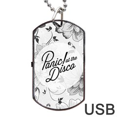 Panic At The Disco Flowers Dog Tag Usb Flash (two Sides)  by Onesevenart