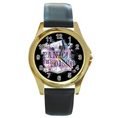 Panic At The Disco Art Round Gold Metal Watch by Onesevenart