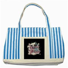 Panic At The Disco Art Striped Blue Tote Bag by Onesevenart