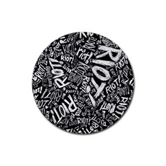 Panic At The Disco Lyric Quotes Retina Ready Rubber Round Coaster (4 Pack)  by Onesevenart