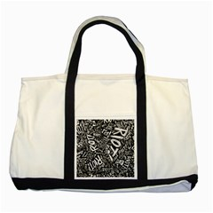 Panic At The Disco Lyric Quotes Retina Ready Two Tone Tote Bag by Onesevenart