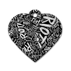 Panic At The Disco Lyric Quotes Retina Ready Dog Tag Heart (one Side) by Onesevenart