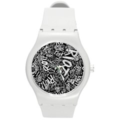 Panic At The Disco Lyric Quotes Retina Ready Round Plastic Sport Watch (m) by Onesevenart