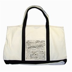 Panic At The Disco Lyrics Two Tone Tote Bag by Onesevenart
