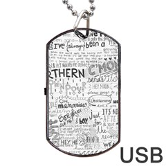 Panic At The Disco Lyrics Dog Tag Usb Flash (two Sides)  by Onesevenart