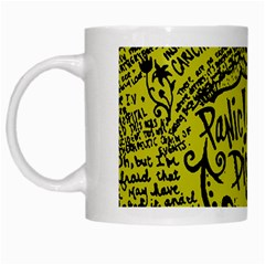 Panic! At The Disco Lyric Quotes White Mugs by Onesevenart