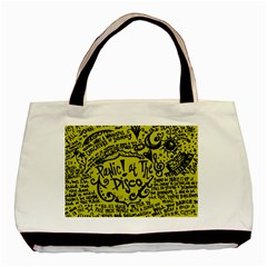 Panic! At The Disco Lyric Quotes Basic Tote Bag (two Sides) by Onesevenart