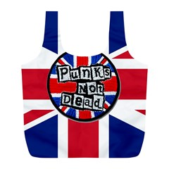 Punk Not Dead Music Rock Uk United Kingdom Flag Full Print Recycle Bags (l)  by Onesevenart