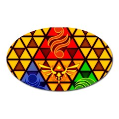 The Triforce Stained Glass Oval Magnet by Onesevenart
