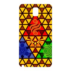 The Triforce Stained Glass Samsung Galaxy Note 3 N9005 Hardshell Back Case by Onesevenart