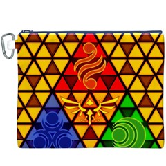 The Triforce Stained Glass Canvas Cosmetic Bag (xxxl) by Onesevenart