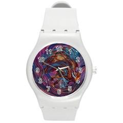 Voodoo Child Jimi Hendrix Round Plastic Sport Watch (m) by Onesevenart