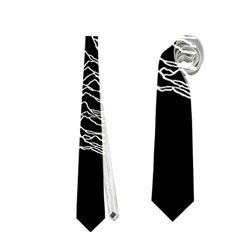 Grayscale Joy Division Graph Unknown Pleasures Neckties (two Side)  by Onesevenart
