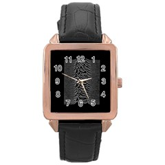 Grayscale Joy Division Graph Unknown Pleasures Rose Gold Leather Watch  by Onesevenart