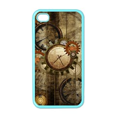 Wonderful Steampunk Design With Clocks And Gears Apple Iphone 4 Case (color) by FantasyWorld7