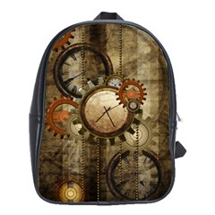 Wonderful Steampunk Design With Clocks And Gears School Bags (xl)  by FantasyWorld7