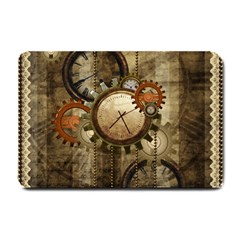 Wonderful Steampunk Design With Clocks And Gears Small Doormat  by FantasyWorld7