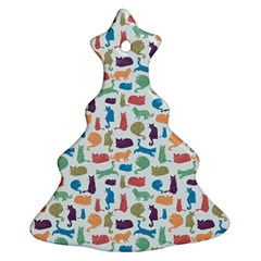Blue Colorful Cats Silhouettes Pattern Ornament (christmas Tree) by Contest580383
