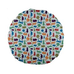 Blue Colorful Cats Silhouettes Pattern Standard 15  Premium Flano Round Cushions by Contest580383