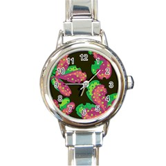 Colorful Leafs Round Italian Charm Watch by Valentinaart