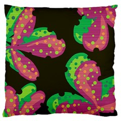 Colorful Leafs Large Cushion Case (two Sides) by Valentinaart