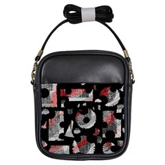 Red Shadows Girls Sling Bags by Valentinaart