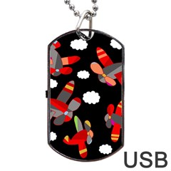 Playful Airplanes  Dog Tag Usb Flash (two Sides)  by Valentinaart