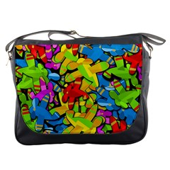 Colorful Airplanes Messenger Bags by Valentinaart