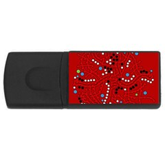 Red fantasy USB Flash Drive Rectangular (2 GB)  by Valentinaart