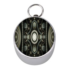 Fractal Beige Blue Abstract Mini Silver Compasses by Zeze