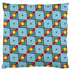 Shapes In Squares Pattern                                                                                                            large Flano Cushion Case (two Sides) by LalyLauraFLM