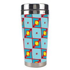 Shapes In Squares Pattern                                                                                                            Stainless Steel Travel Tumbler by LalyLauraFLM