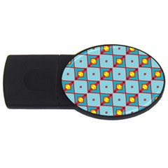 Shapes In Squares Pattern                                                                                                            			usb Flash Drive Oval (4 Gb) by LalyLauraFLM