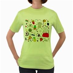 Animals Fruite Cake Lip Pattern Women s Green T Shirt by AnjaniArt