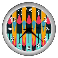 Shapes And Stripes                                                                                                             wall Clock (silver) by LalyLauraFLM